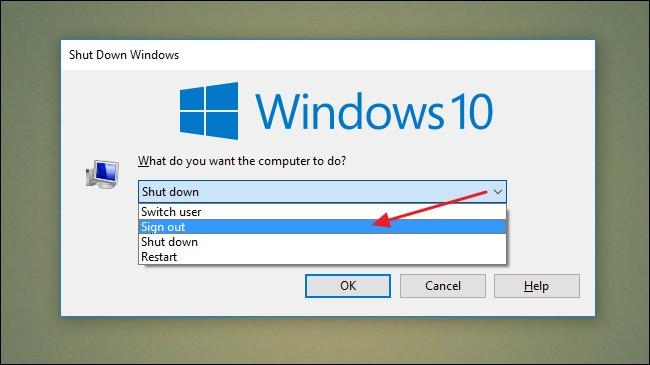 windows 10 logoff