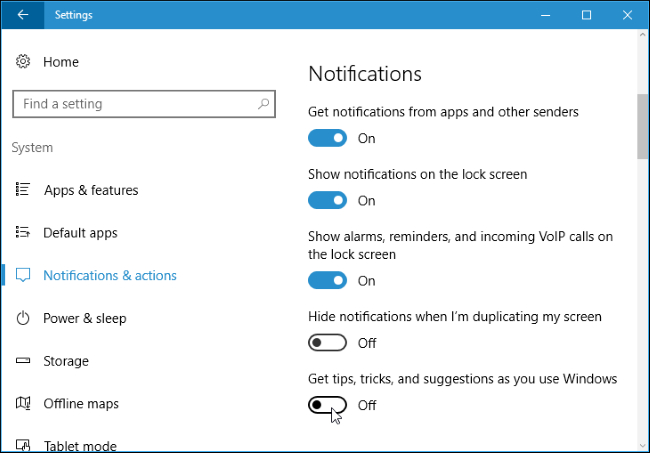 Disable Windows 10's Taskbar Pop-up Notifications