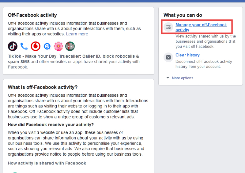 How to turn off Facebook activity tracking?