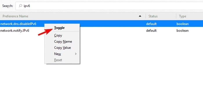 disable IPv6 in Mozilla Firefox- Firefox Error