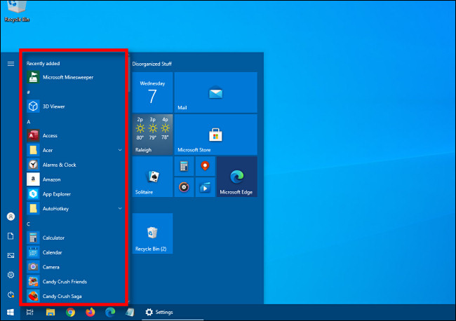 How to Hide App List from Start Menu on Windows 10?